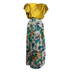 Jean Patou  silk gold top and natural linen Maxi-skirt evening ensemble, c.1970s