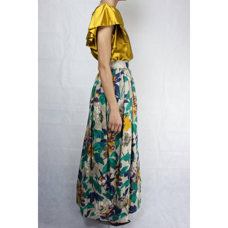 Brown Jean Patou two pieces silk and natural linen skirt evening ensemble, c.1970s For Sale