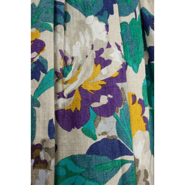 Jean Patou two pieces silk and natural linen skirt evening ensemble, c.1970s For Sale 1