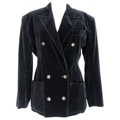 Jean Paul Gaultier 1980s Black Velvet Double Breasted Classic Jacket