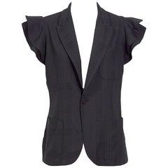 Jean Paul Gaultier 1990s vintage black jacket featuring short ruffle sleeves