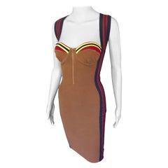 Jean Paul Gaultier 1990's Vintage Bustier Bodycon Knit Mini Dress