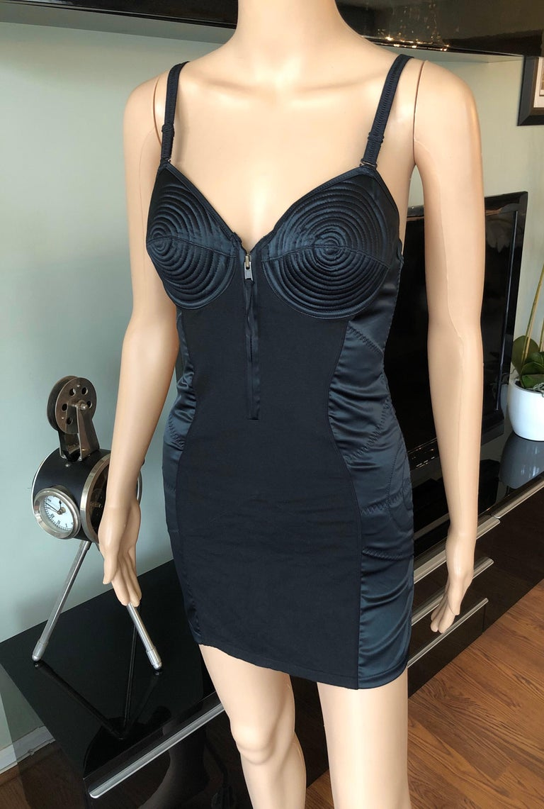 Jean Paul Gaultier 1990's Vintage Cone Bra Corset Bondage Black Mini Dress In Good Condition For Sale In Totowa, NJ