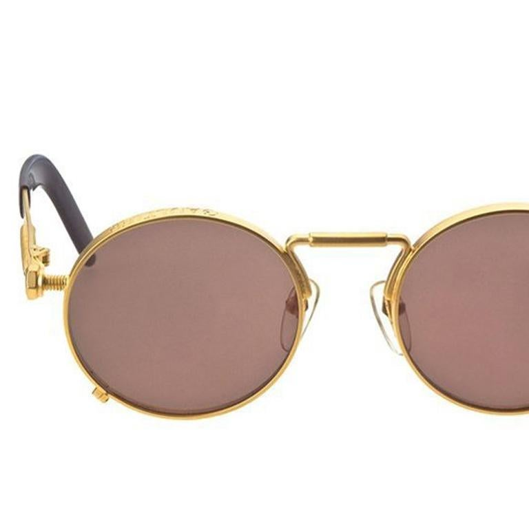 Jean Paul Gaultier 56-8171 Gold Vintage Sunglasses In Excellent Condition In Chicago, IL