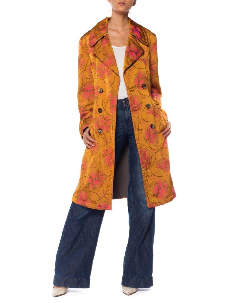 Orange Jean Paul Gaultier Art-Deco Textile Trench Coat For Sale