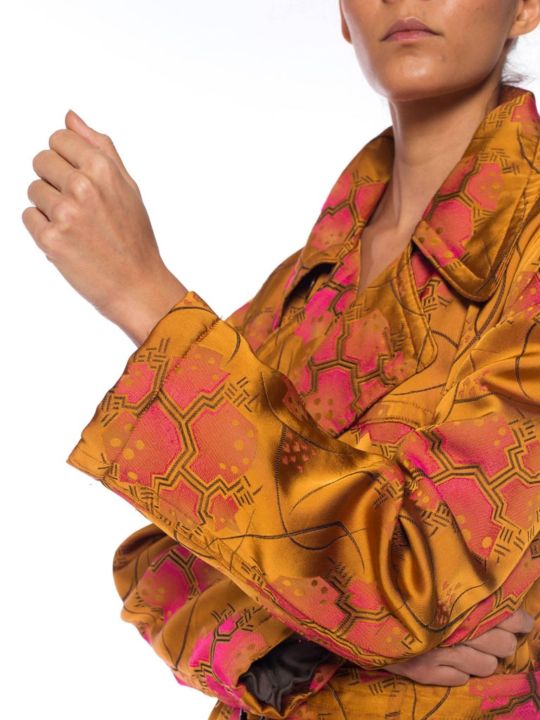 Jean Paul Gaultier Art-Deco Textile Trench Coat For Sale 5
