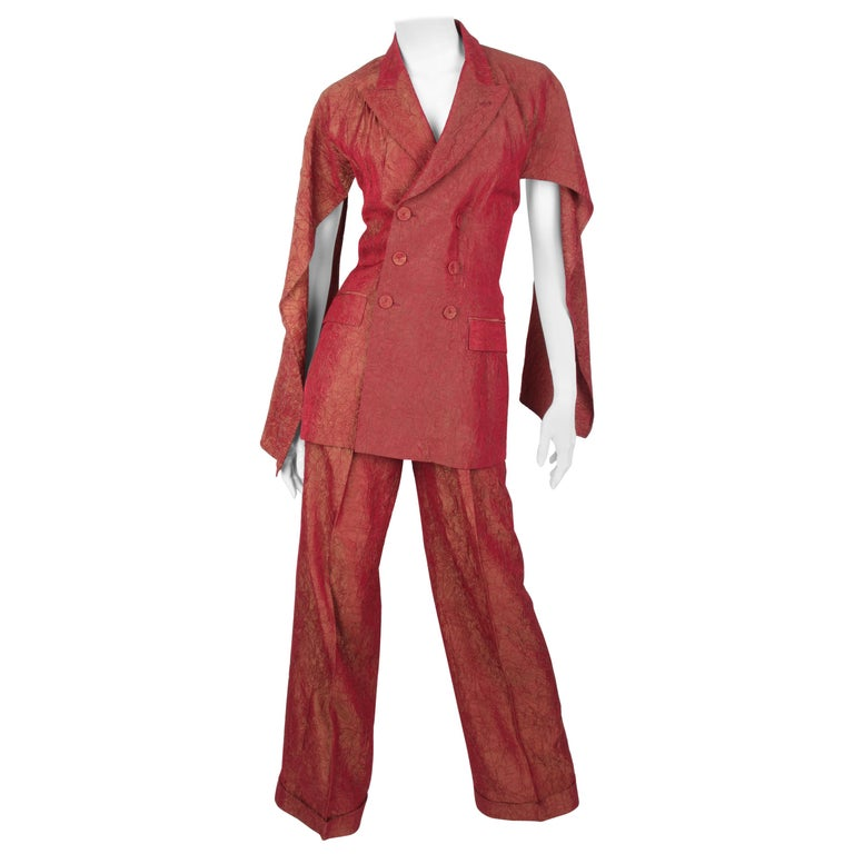 Jean Paul Gaultier backless two-piece suit in red iridescent crinkle rayon For Sale