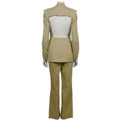 Jean Paul Gaultier Beige Cotton Suit with Iconic Cut-Out Back Blazer