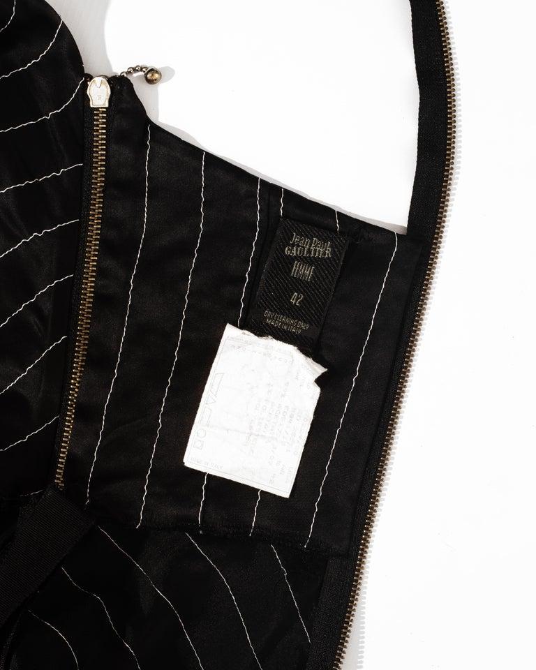 Jean Paul Gaultier black acetate striped zip-up evening dress, ss 1995 For Sale 6