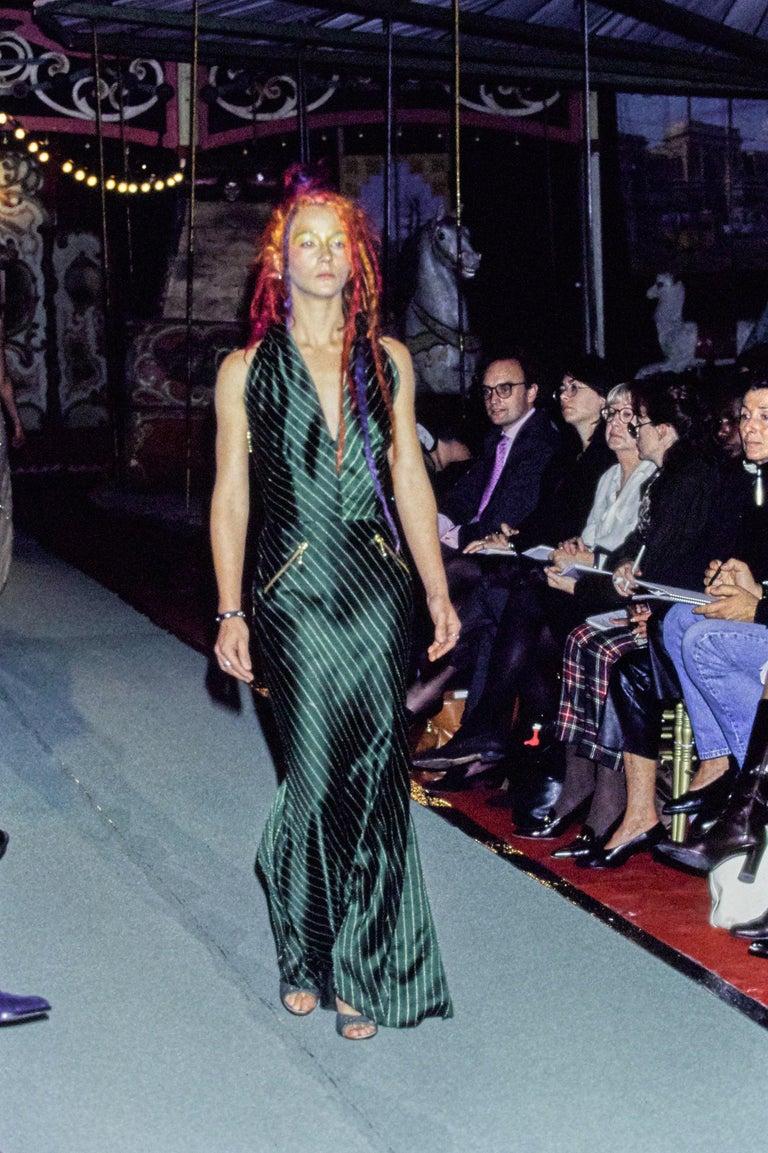 Black Jean Paul Gaultier black acetate striped zip-up evening dress, ss 1995 For Sale