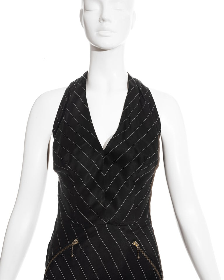 Jean Paul Gaultier black acetate striped zip-up evening dress, ss 1995 In Excellent Condition For Sale In London, GB