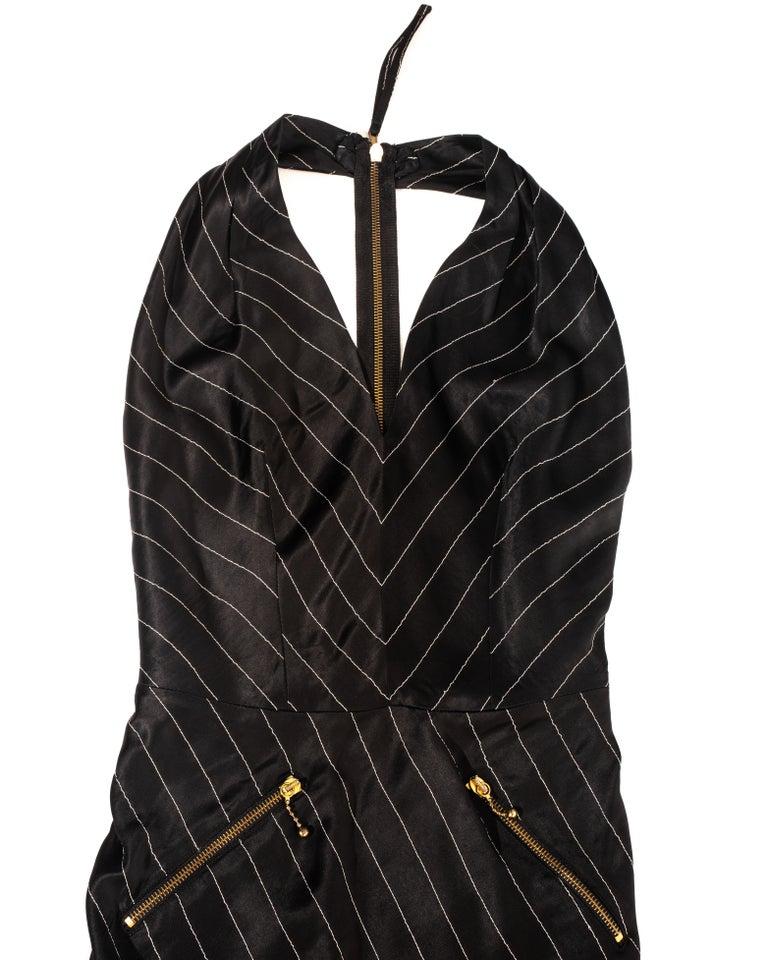 Women's Jean Paul Gaultier black acetate striped zip-up evening dress, ss 1995 For Sale