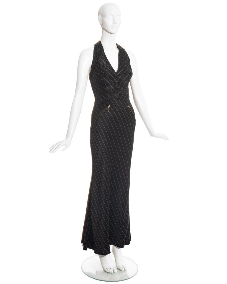 Jean Paul Gaultier black acetate striped zip-up evening dress, ss 1995 For Sale 1