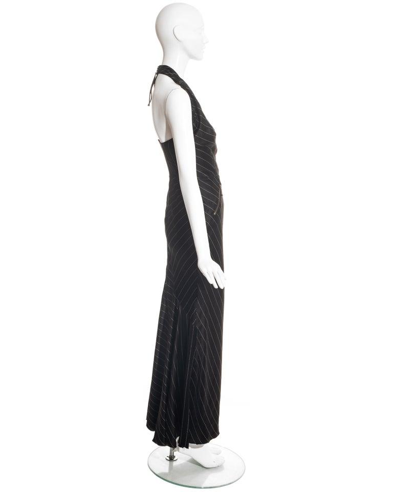 Jean Paul Gaultier black acetate striped zip-up evening dress, ss 1995 For Sale 2