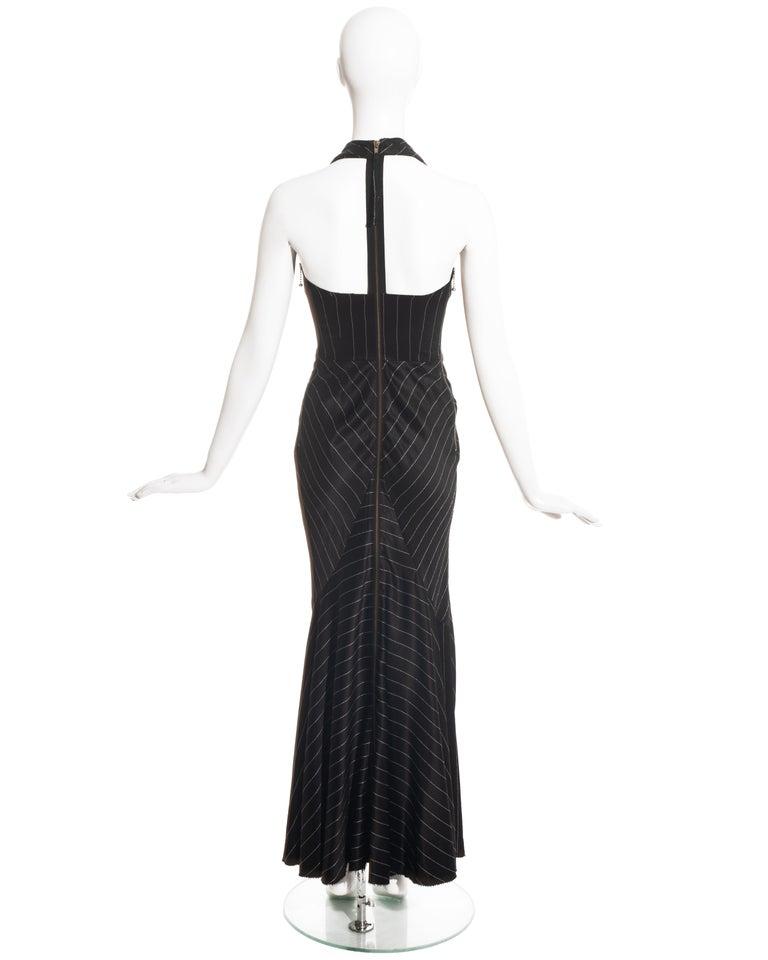 Jean Paul Gaultier black acetate striped zip-up evening dress, ss 1995 For Sale 3