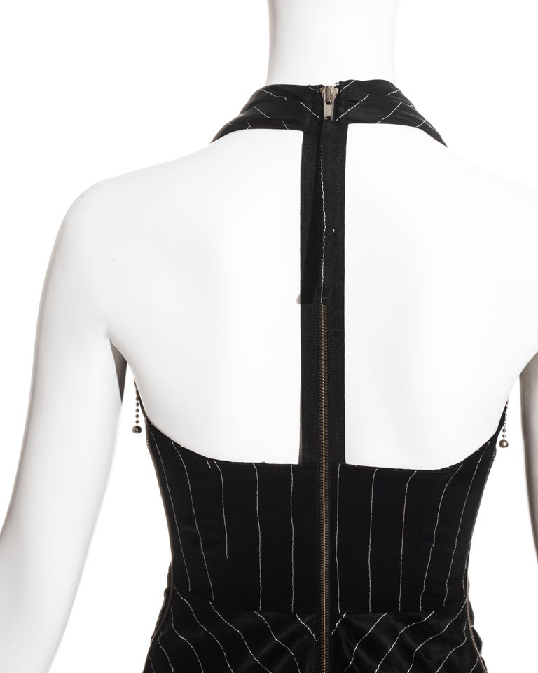 Jean Paul Gaultier black acetate striped zip-up evening dress, ss 1995 For Sale 4