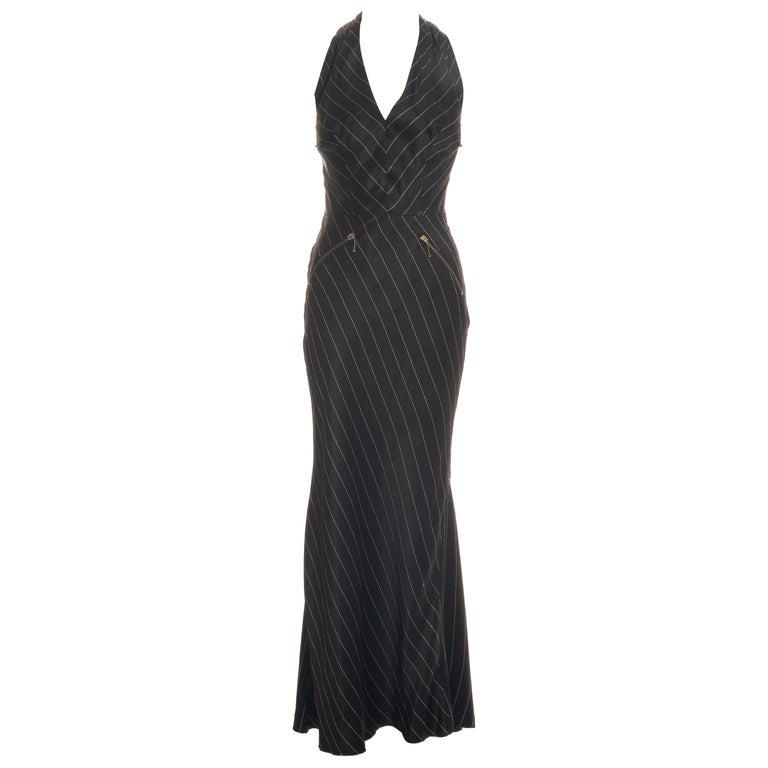 Jean Paul Gaultier black acetate striped zip-up evening dress, ss 1995 For Sale