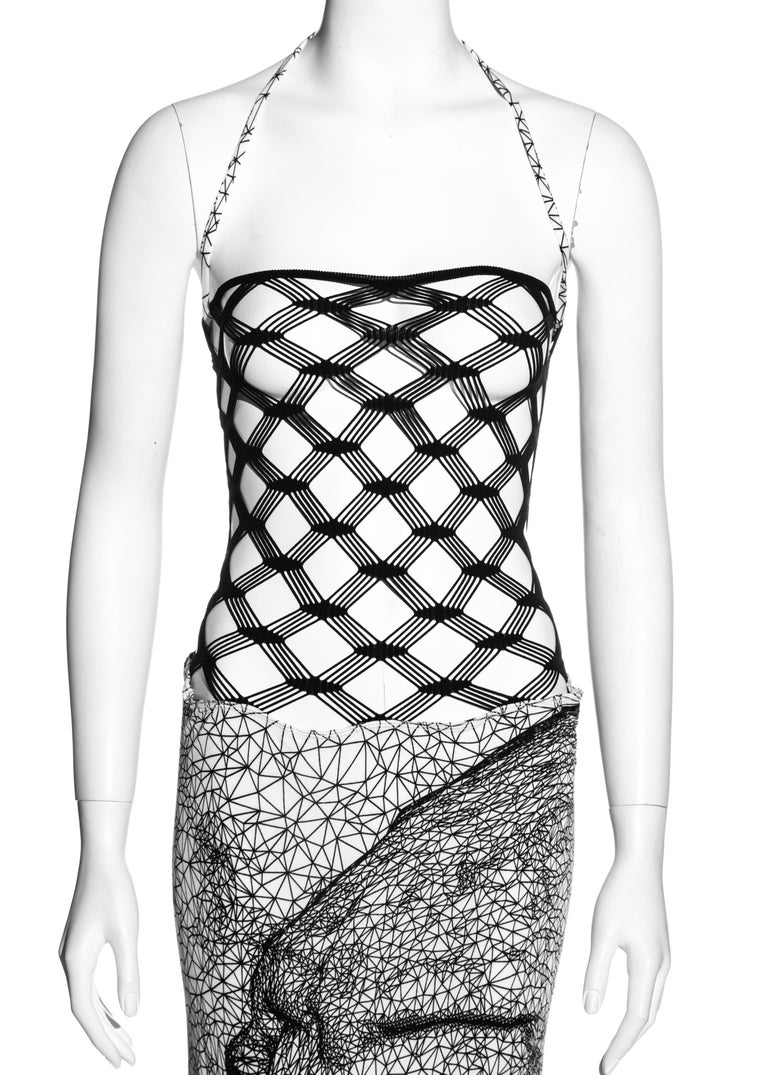 Gray Jean Paul Gaultier black and white fishnet lycra maxi dress, ss 2001 For Sale