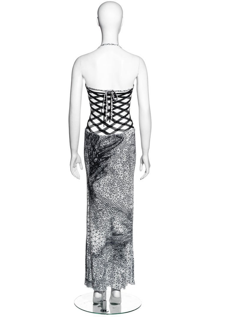 Jean Paul Gaultier black and white fishnet lycra maxi dress, ss 2001 For Sale 1