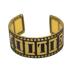 Jean Paul Gaultier Runway Black and Yellow Resin Cuff Bracelet Old Film Strip