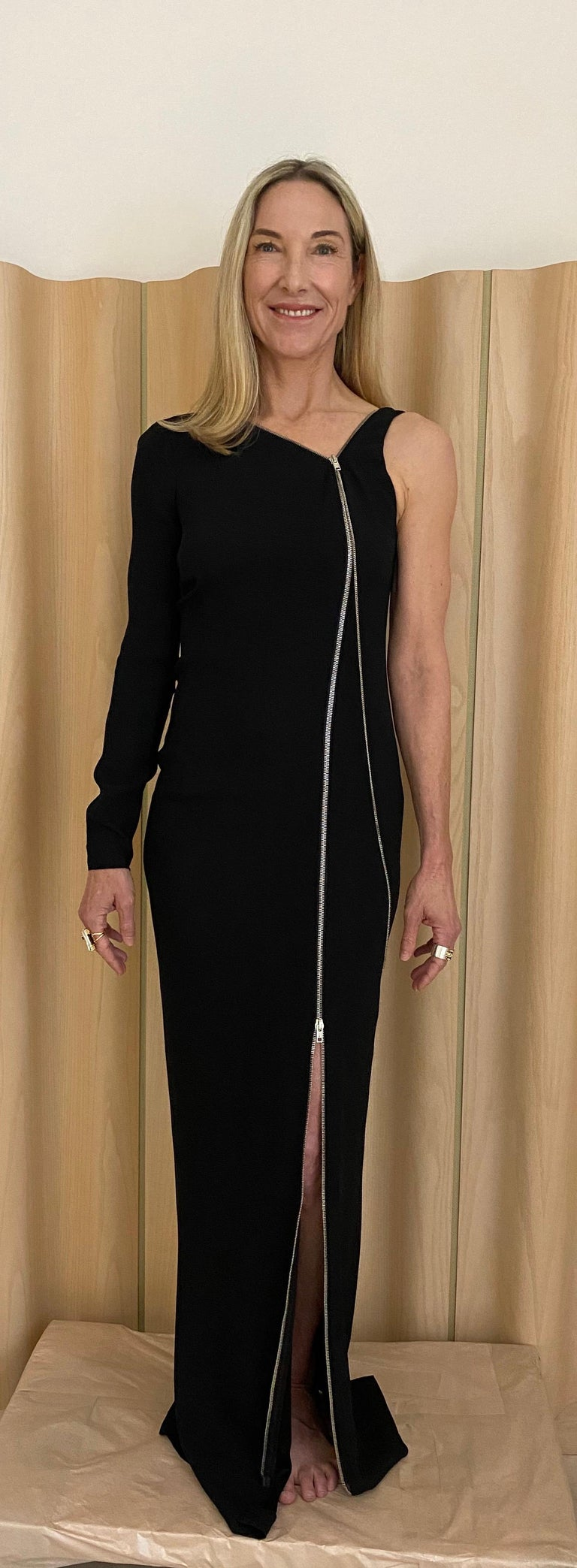 Jean Paul Gaultier Black Crepe Zipper Dress In Excellent Condition For Sale In Beverly Hills, CA