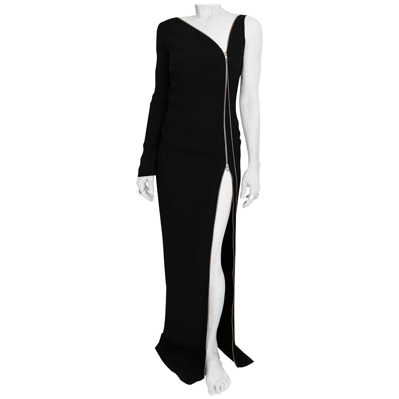 Jean Paul Gaultier Black Crepe Zipper Dress