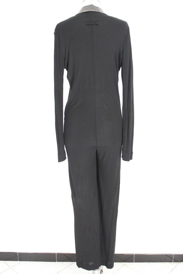 Jean Paul Gaultier Black Jumpsuit Leather Plunge V-Neck Collar Elegant 1990s In Excellent Condition For Sale In Brindisi, Bt