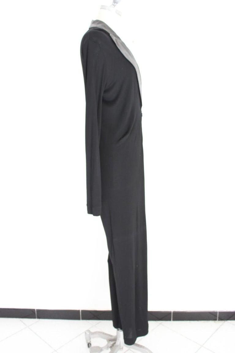 Women's Jean Paul Gaultier Black Jumpsuit Leather Plunge V-Neck Collar Elegant 1990s For Sale