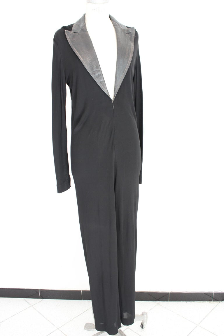 Jean Paul Gaultier Black Jumpsuit Leather Plunge V-Neck Collar Elegant 1990s For Sale 1