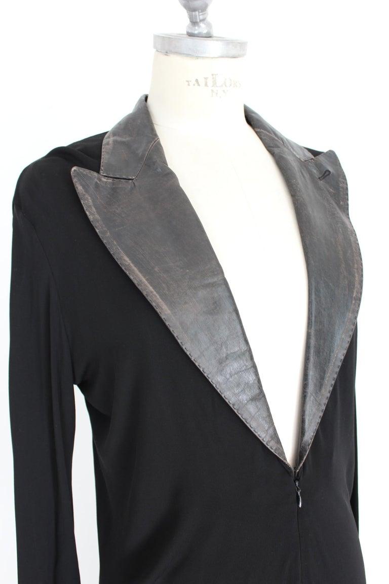 Jean Paul Gaultier Black Jumpsuit Leather Plunge V-Neck Collar Elegant 1990s For Sale 2