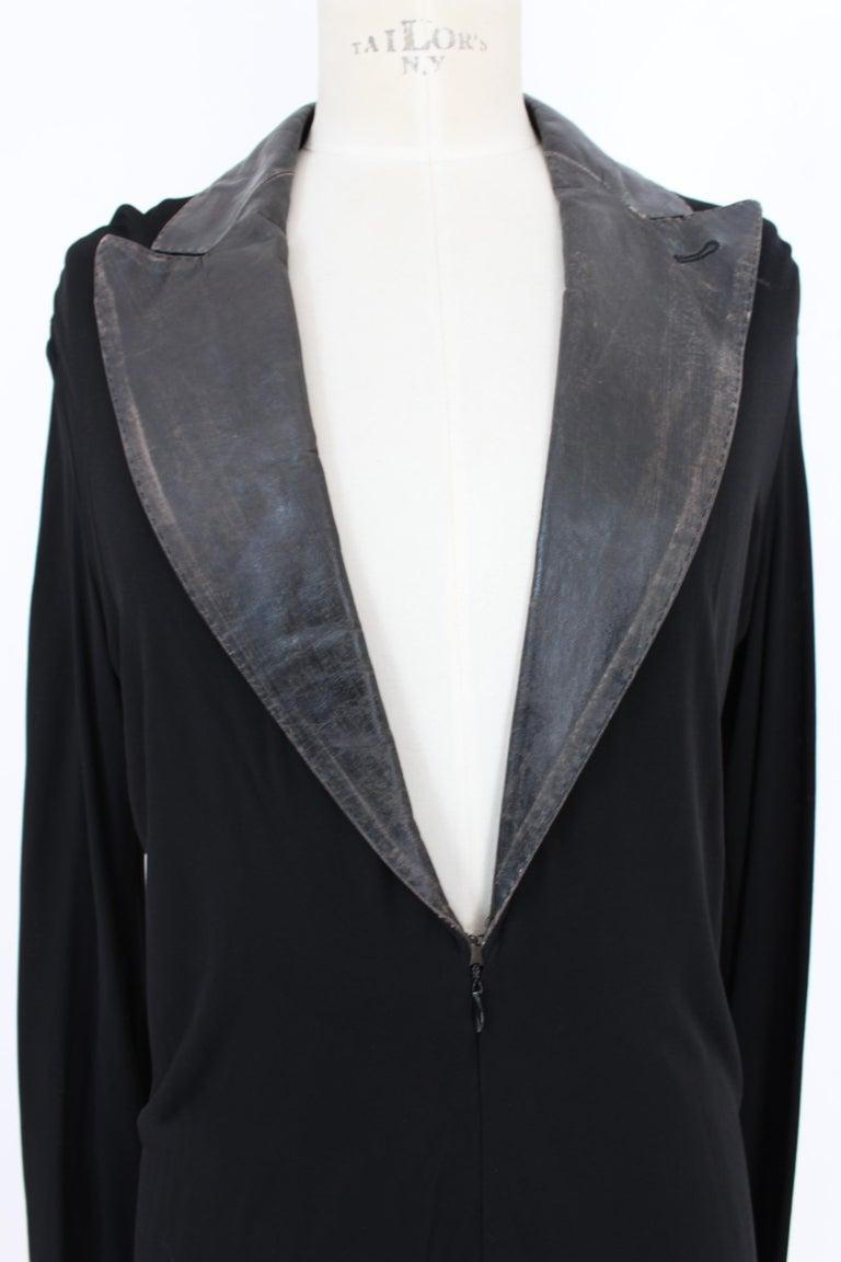 Jean Paul Gaultier Black Jumpsuit Leather Plunge V-Neck Collar Elegant 1990s For Sale 3