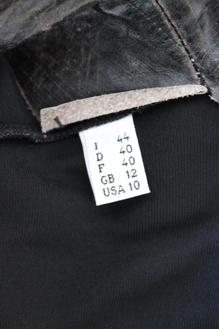 Jean Paul Gaultier Black Jumpsuit Leather Plunge V-Neck Collar Elegant 1990s For Sale 4