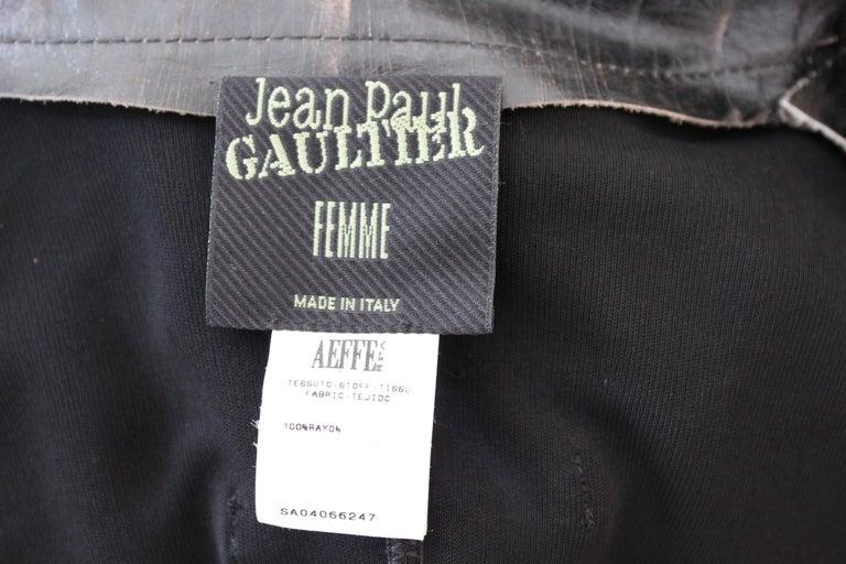 Jean Paul Gaultier Black Jumpsuit Leather Plunge V-Neck Collar Elegant 1990s For Sale 5
