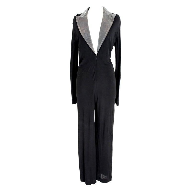 Jean Paul Gaultier Black Jumpsuit Leather Plunge V-Neck Collar Elegant 1990s For Sale