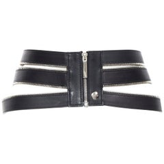 JEAN PAUL GAULTIER black leather elasticated zipper detail caged corset belt S