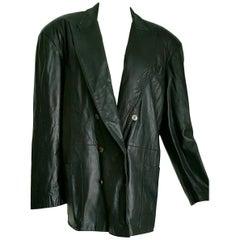 Jean Paul GAULTIER black leather unisex double breasted jacket - Unworn, New