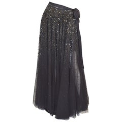 Jean Paul Gaultier Black Mesh Skirt with Star Sequins