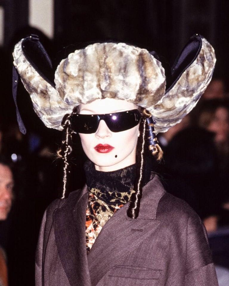 Women's Jean Paul Gaultier black oversized puffer trapper hat, fw 1993 For Sale