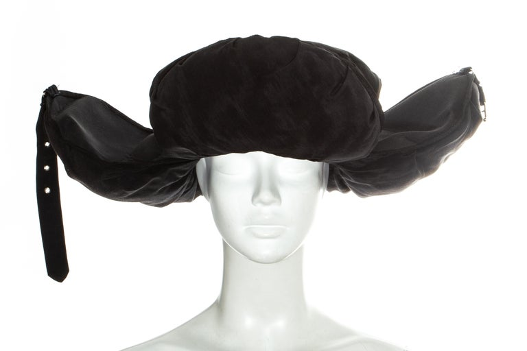Jean Paul Gaultier black oversized puffer trapper hat, fw 1993 For Sale 1
