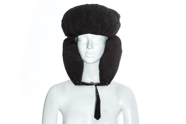 Jean Paul Gaultier black oversized puffer trapper hat, fw 1993 For Sale 3