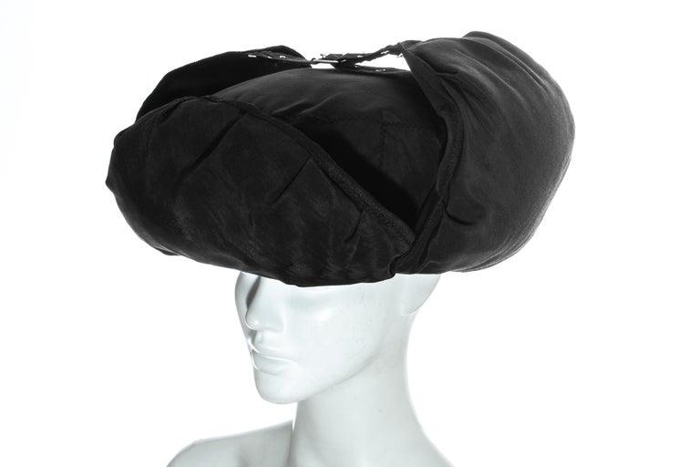 Jean Paul Gaultier black oversized puffer trapper hat, fw 1993 For Sale 4