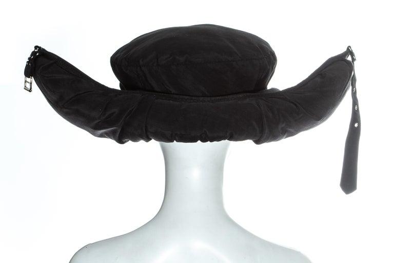 Jean Paul Gaultier black oversized puffer trapper hat, fw 1993 For Sale 5