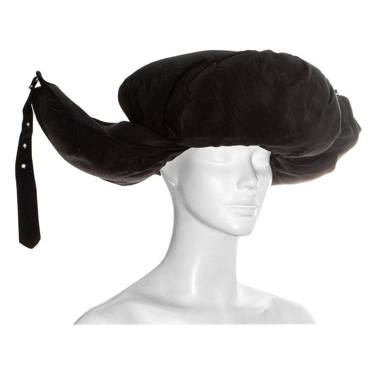Jean Paul Gaultier black oversized puffer trapper hat, fw 1993 For Sale