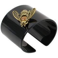 Jean Paul Gaultier Black Resin and Brass Bee Cuff Bracelet