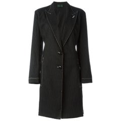Jean Paul Gaultier Black Stripy Cotton Coat