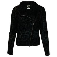 Jean Paul Gaultier Black Velvet Front Zip Jacket sz M