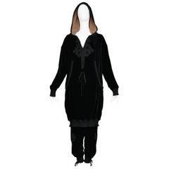 Jean Paul Gaultier Black Velvet Hoodie & Track Pant Ensemble 2010