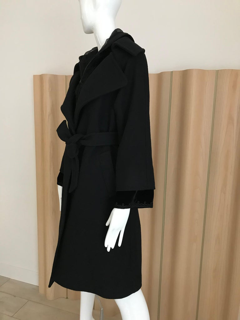 Jean Paul Gaultier Black Wool Coat with Silk Velvet Layer and Hood For Sale 6