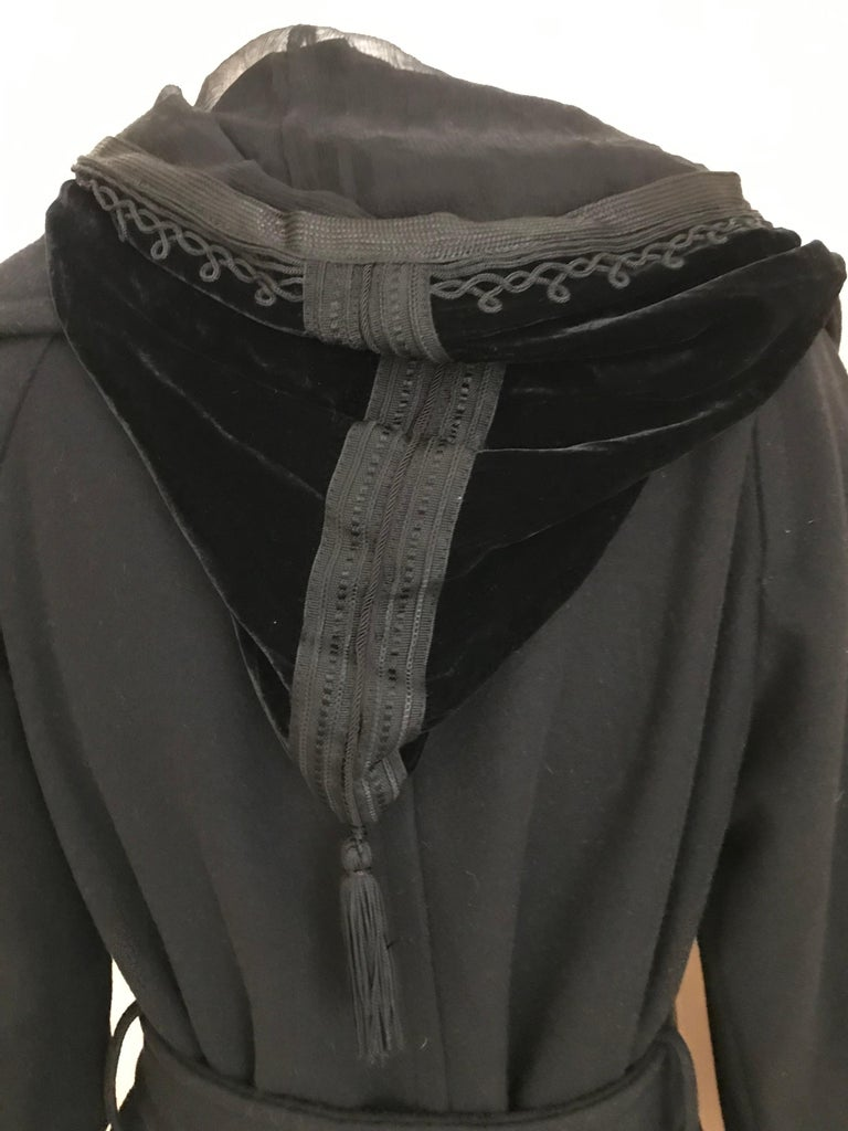 Jean Paul Gaultier Black Wool Coat with Silk Velvet Layer and Hood For Sale 7