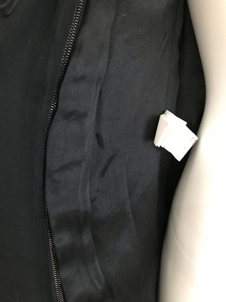 Jean Paul Gaultier Black Wool Coat with Silk Velvet Layer and Hood For Sale 8